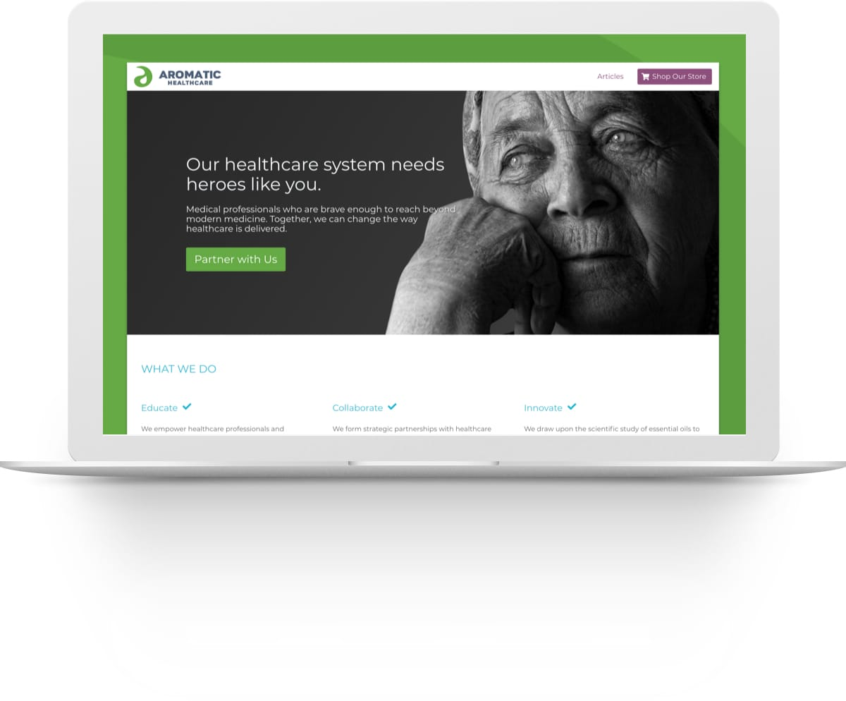 Screenshot of the Aromatic Healthcare website