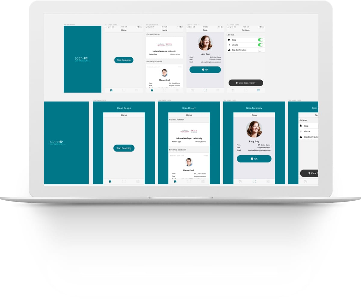 Screenshot of the UI design canvas for Scanex