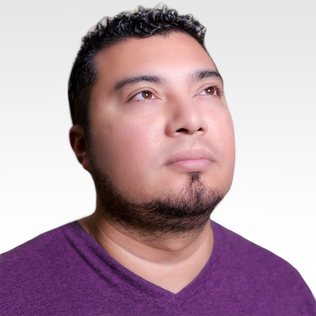 Photo of Selvin in purple t-shirt